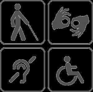 ícones universais para cadeirante, surdo, cego e mobilidade reduzida