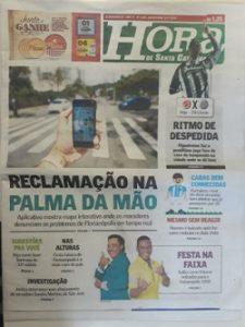 Capa do Jornal Hora de Santa Catarina de 09 de novembro de 2018
